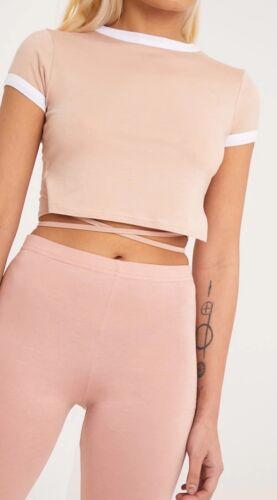 Femme Phillipa Nude Jersey Harnais Contrast Crop T Shirt