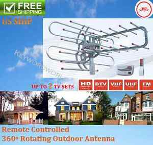 HDTV-1080P-Outdoor-Amplified-Antenna-Digital-HD-TV-180-Mile-360-Rotor-UHF-VHF-FM