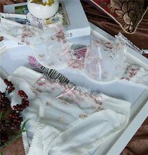 Women Transparent Embroidery Sexy Flora Lace Bra set Underwear Suits 38B Bra