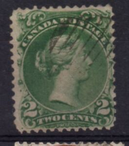 Canada-Sc-24-1868-2-c-green-Large-Queen-Victoria-stamp-used-Free-Shipping