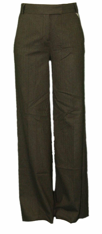 Gant Women's Dark Brown Pinstriped Flannel Pants 414339  NEW