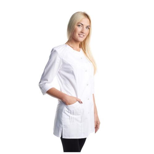White Women Lab Coat Medical Uniform Doctor Nurse Scientist Cosmetologist Doctor