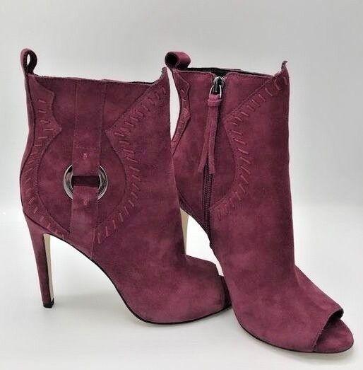 New REBECCA MINKOFF Ridley Peep Toe Bootie Woman Maroon Suede Size US6 EU 36.5