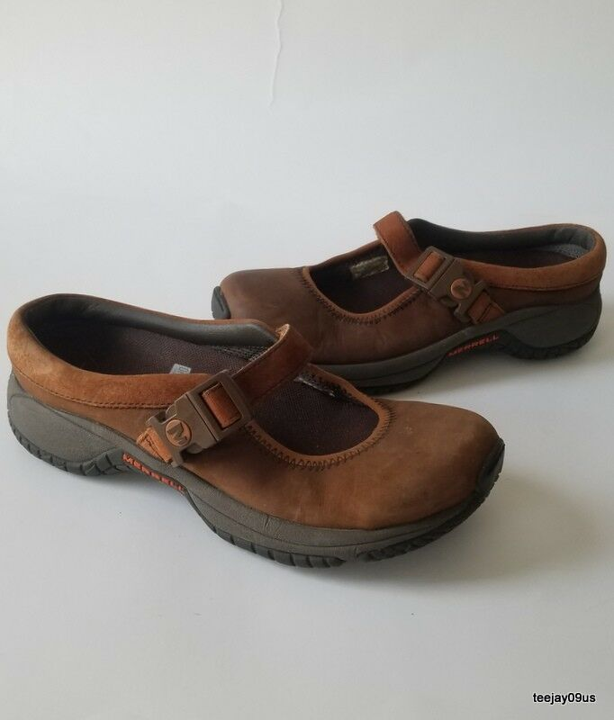 MINT Cond  Women's Merrell ENCORE MJ Leather Dark Earth Loafers shoes 5 M 35