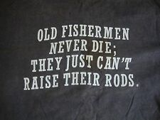 Vintage Old Man Funny Fishermen fishing sex joke T Shirt Men's Size L