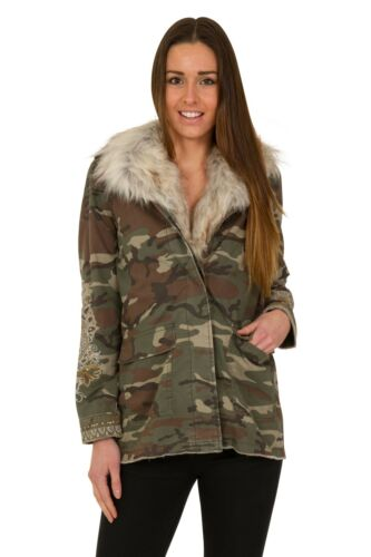Ex High Street Women/'s Faux Fur Camo Military  Camouflage Coat Jacket Rrp £70