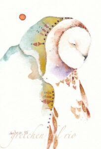 ACEO-Giclee-PRINT-watercolor-2-5-034-x-3-5-034-Del-rio-spirit-totem-039-GRANDMOTHER-OWL-039