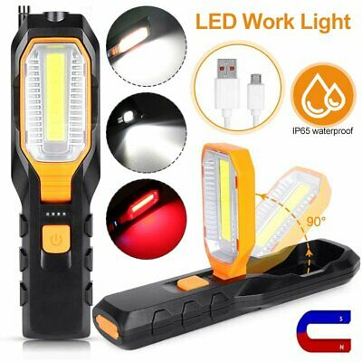 Rechargeable Magnetic LED Work Light Slim Camping Garage Torch Lamp Folding