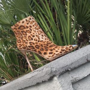 Cape Robbin VIVA Leopard Lace Up Front Tie Peep Toe Stiletto Heel Ankle Bootie