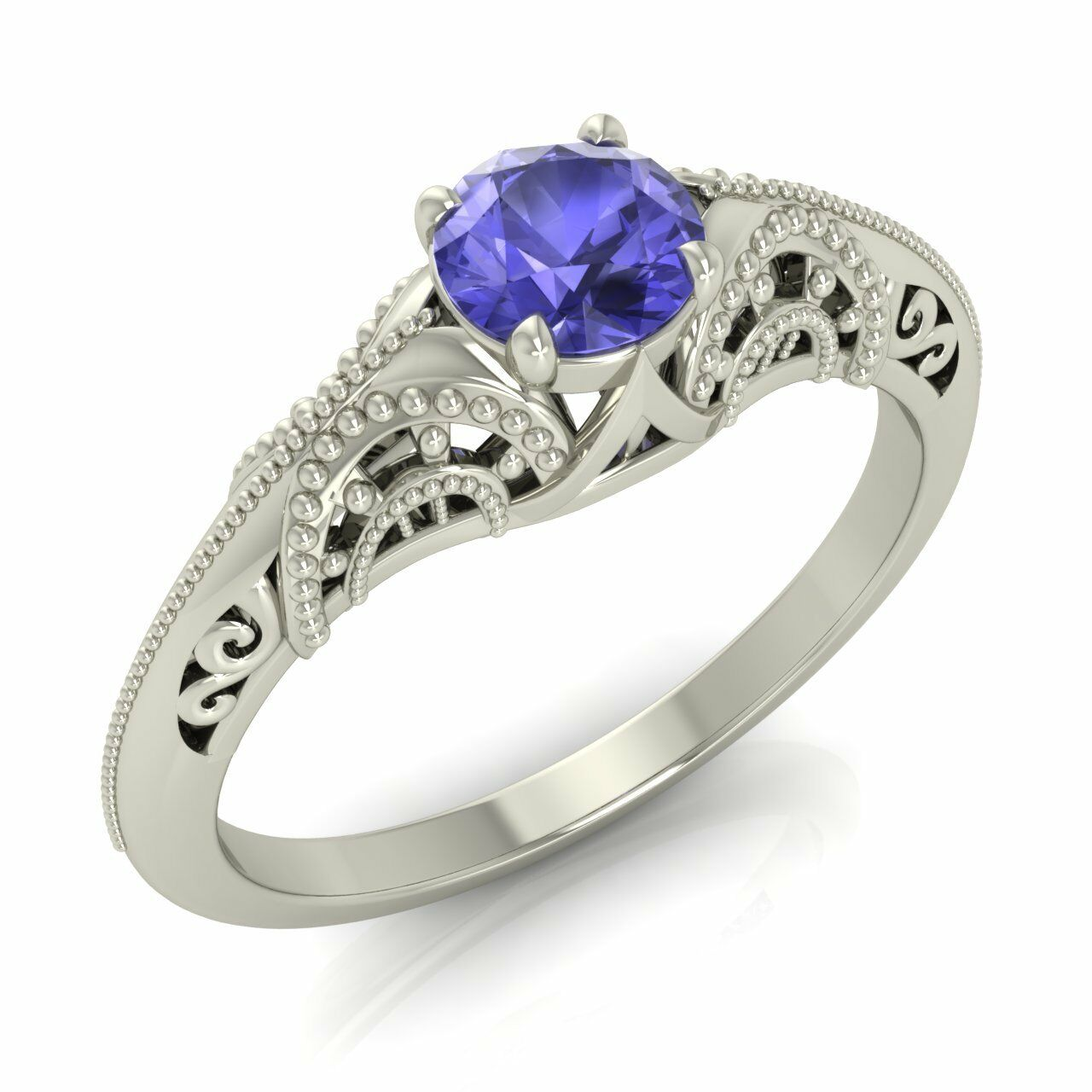 AAA Natural Tanzanite 10k 14k 18k Solid White gold Vintage Look Engagement Ring