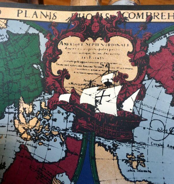 3 Rolls Wallpaper Border New World Map Antique Style Travel Ship