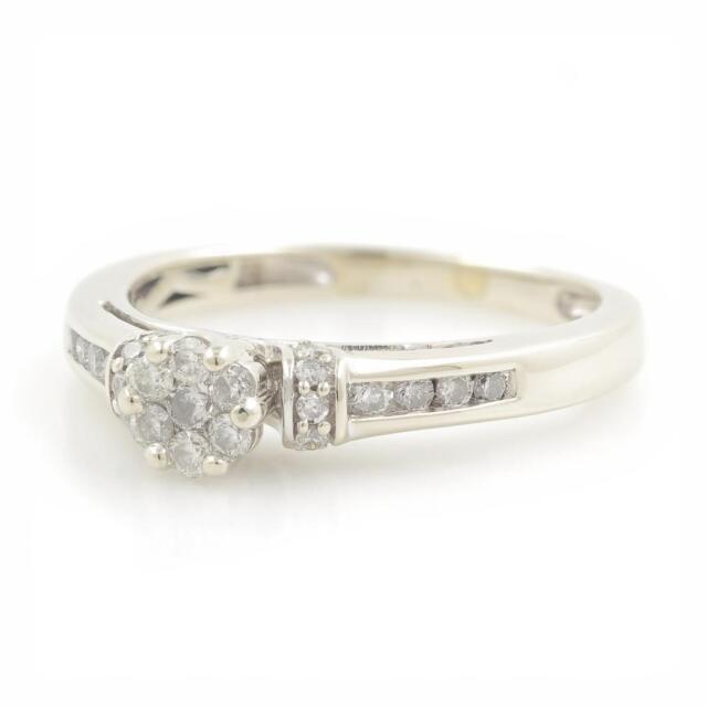 Ladies Stylish Modern 14K White Gold Round Diamond Rosita Ring - 0.35CTW