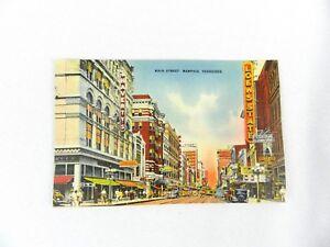 Vintage-Postcard-1940-039-s-Main-Street-Memphis-Tennessee-Color-Bluff-City-News