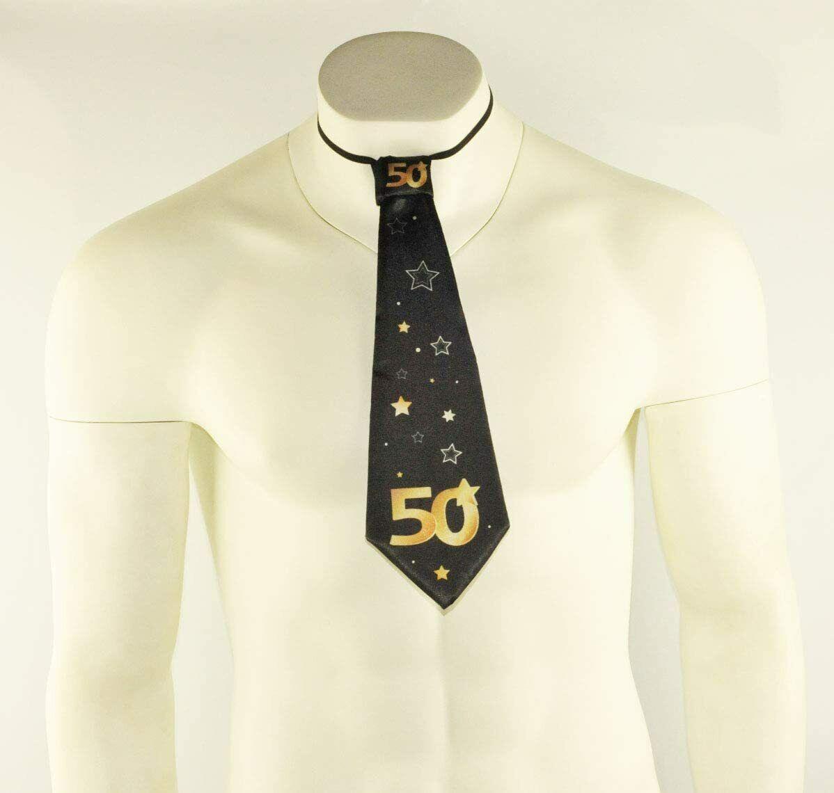 1x Negro 50th Feliz Cumpleaños Corbata Corbata Vestido De Fantasía Gracioso vestir Lazos Estrellas