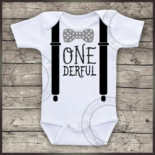 Personalised Bodysuit Boys Birthday Day Cake Smash Bodysuit Baby Vest One Derful Black and Grey