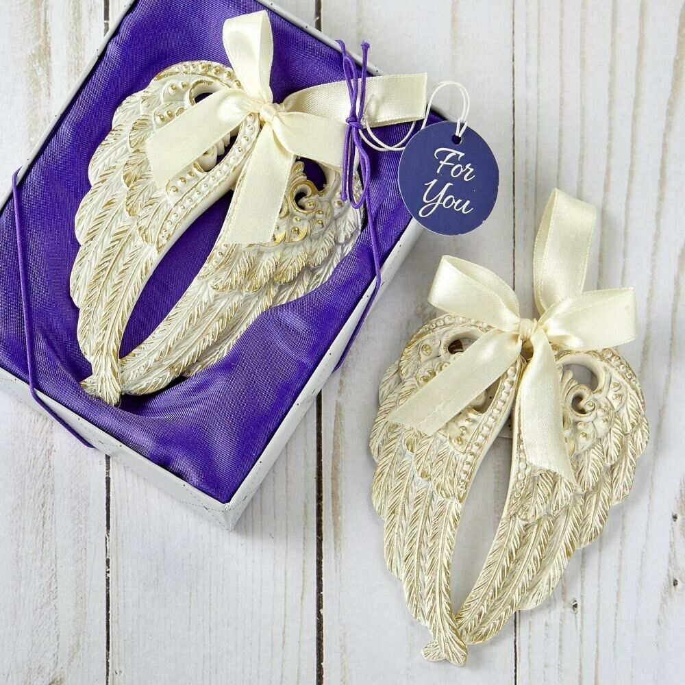 30 Ivory & Gold Angel Wings Ornament Communion Baptism Shower Religious Favors