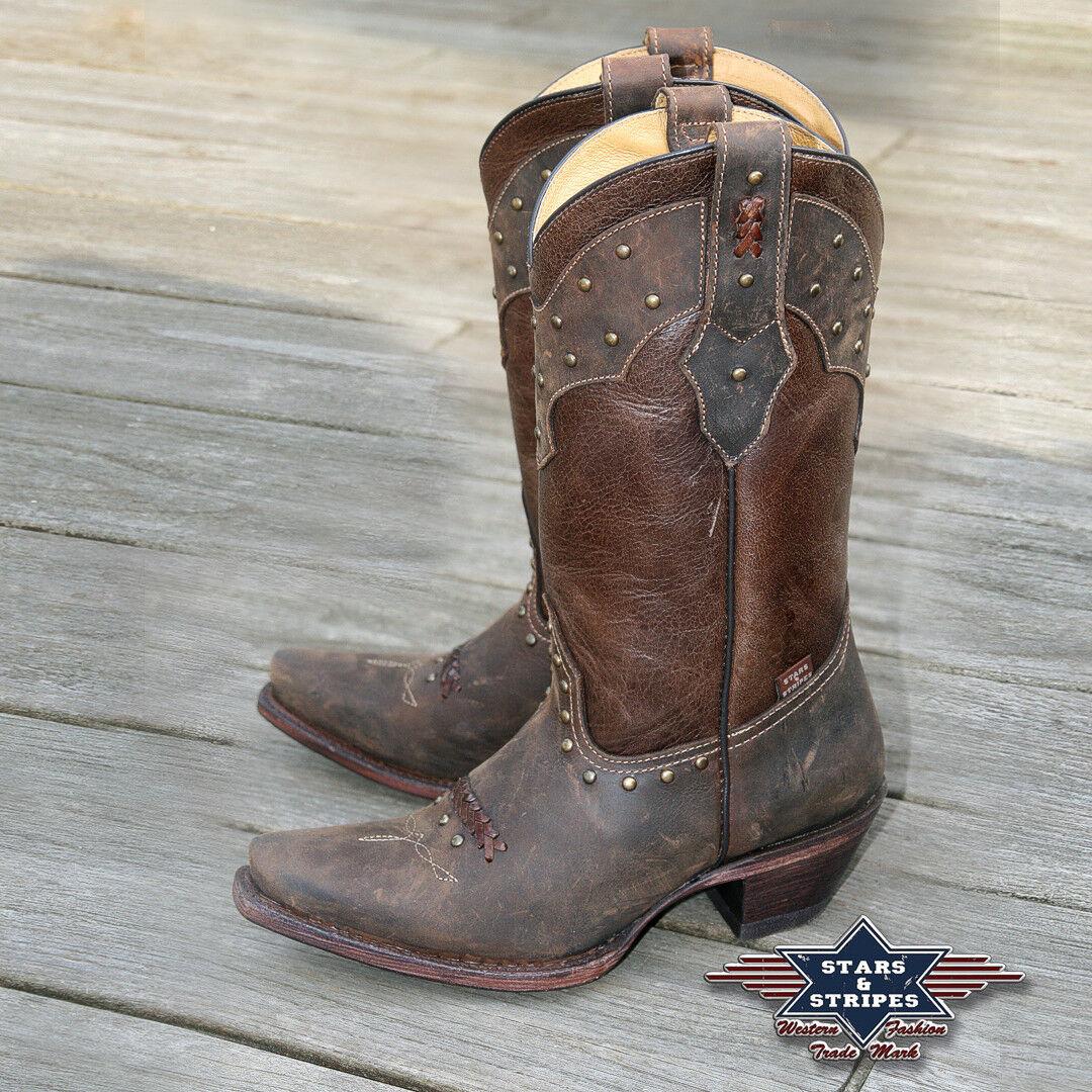 Stivali Donna Marronee Pelle Country Western Stivali Cowboy Stivali wbl27  S & S