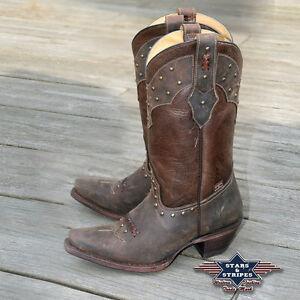 sports shoes b878d 1a072 Details zu Stiefel Damen Leder Braun Country Westernstiefel Cowboystiefel  »WBL-27« S&S