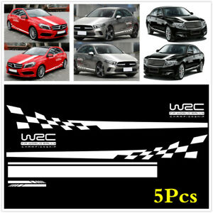 5x Car Hood Rearview Mirror Side Skirt WRC Checkered Flag Long Stripe Stickers
