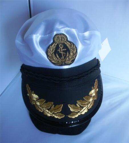 New White Captain Sailor Nautical Hat Cap Navy Fancy Dress