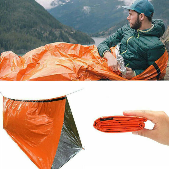 Reusable Emergency Thermal Sleeping Bag Tent Survival Reflective Shelter Camping