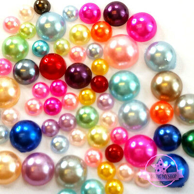 300 4mm-8mm Colorful DIY Art Faux Pearls Flat Back Cabochon Mix Colors & Size