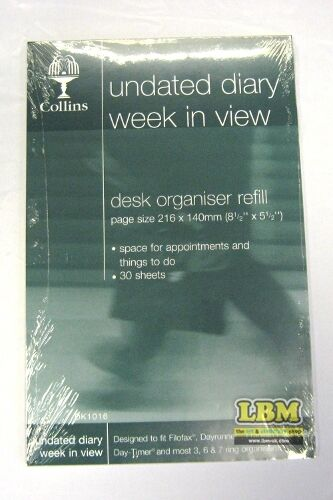 Collins Desk size Undated Diary Week In (to) View Insert Organiser Refill DK1016