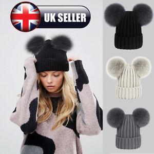 01c88122343 Womens Ladies Winter Warm Chunky Knit Cap With Double Fur Pom Pom ...