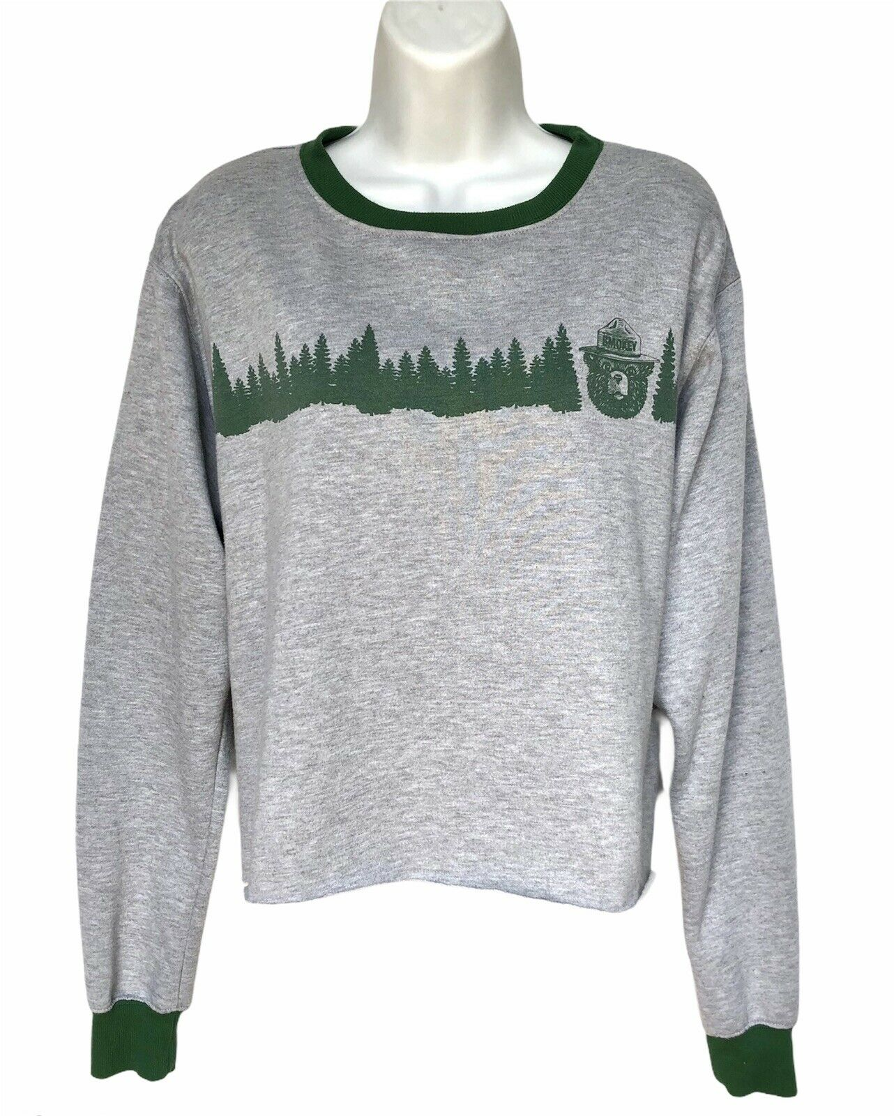 Smokey The Bear Forest Green Cropped Pullover Sweatshirt Size 2X Jrs Womens