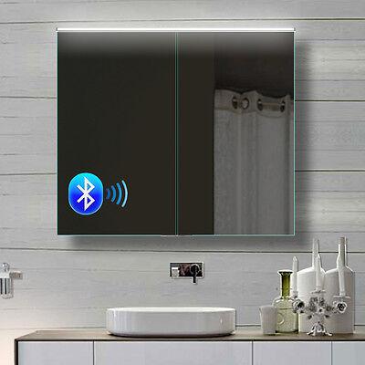 Alu Badezimmer spiegelschrank LED und Bluetooth Lautsprecher 82x70cm BHC82H70
