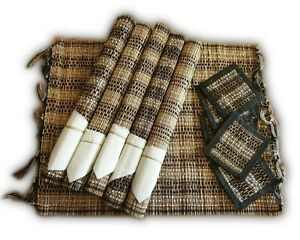 Wicker-Place-Mats-Rectangular-Set-12-Plates-Coasters-Clearance-Handmade-Bamboo