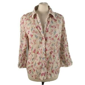 Per-Una-M-amp-S-Size-16-Cream-V-Neck-Floral-Crinkle-Blouse-Shirt-3-4-Sleeves-NEW