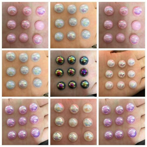 20pcs Half plastic Pearl AB Bead FlatBack Scrapbook//Beads DIY Wedding decoration