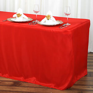 6 ft RED FITTED POLYESTER TABLE COVER Wedding Party Tradeshow Tablecloths Dinner