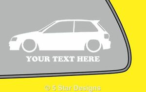 Details about 2x LOW YOUR TEXT Toyota Starlet GT Turbo EP82 outline sticker  decal 217