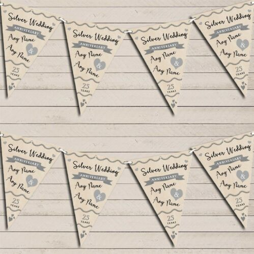 Party Decoration Silver 25th Wedding Anniversary Bunting Garland Party Banner
