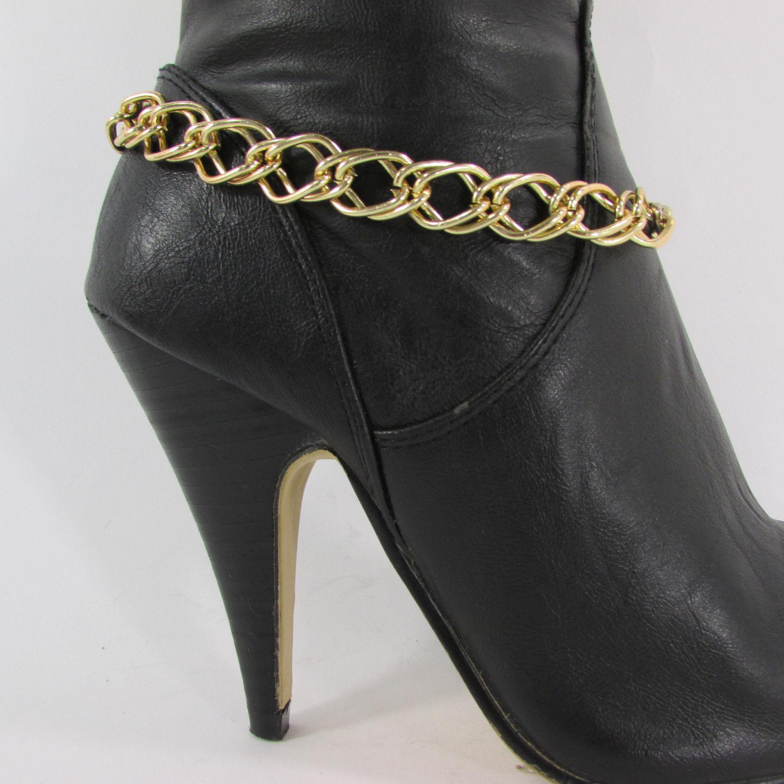 New Women Fashion Jewelry Boot Bracelet Gold Chunky Chain Links Shoe Bling Charm
