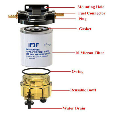 600-442-01K Yamaha Fuel Water Seperator Kit 10 Micron 3//8 npt Mercury