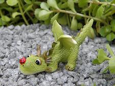 Miniature Dollhouse FAIRY GARDEN ~ Mini Dragon Playing with Ladybug Figurine NEW