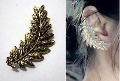 New Fashion Punk Bronze Metal Leaf Cuff Ear Stud Clip Earring 1PC