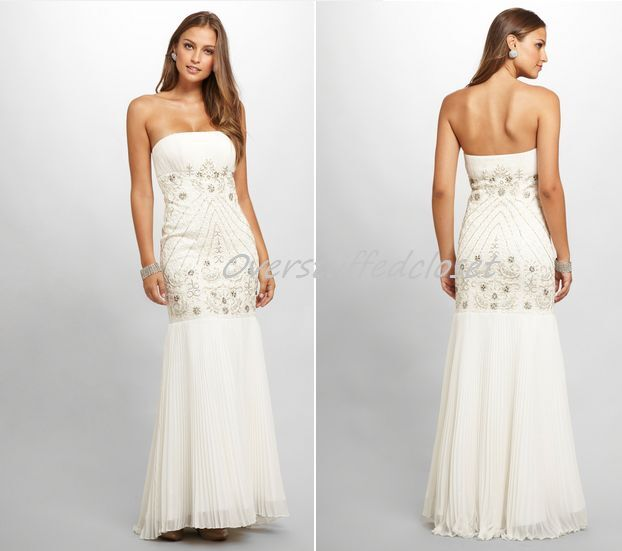 NWT  SUE WONG Embellished Drop Waist Embellished Gown White
