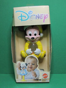 Mattel Ancien Jouet Bébé - Hochet à Ventouse Mickey Hug Tight Rattle Disney 1988