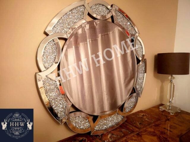Rome Large Round Wall Mirror Modern Light Champagne Silver Frame Art Deco For Sale Ebay