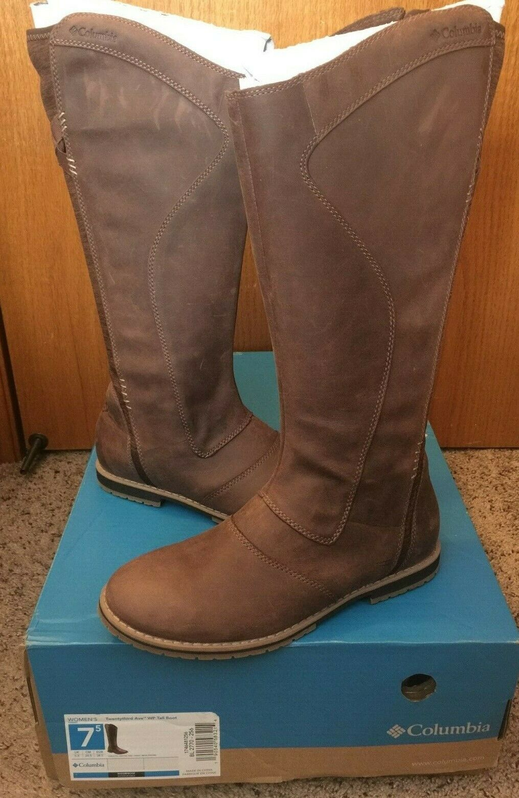 NIB Columbia Women's Brown Twentythird Ave WP Tall Riding Boot Size 7.5  7 1 2