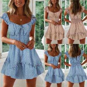 Women-039-s-Sexy-Short-Sleeve-Ruffle-Bandage-Stretch-Waist-Fitted-Mini-Dress-Sweet