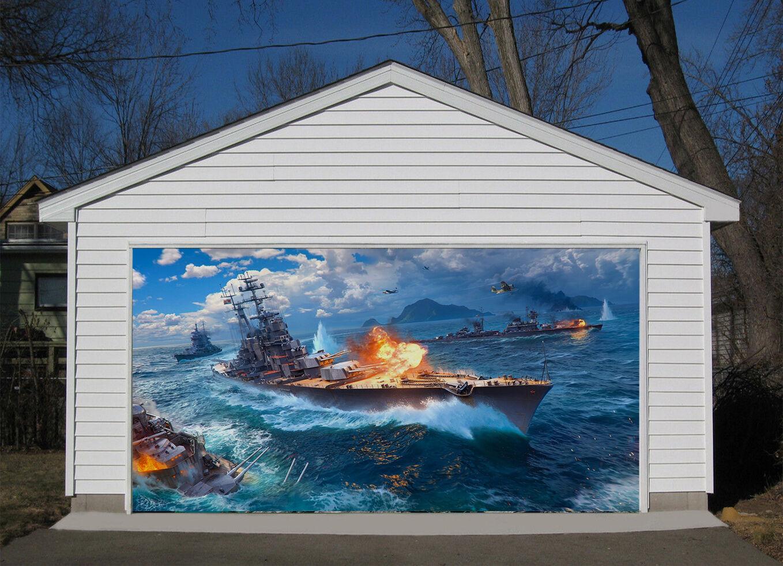 3D War Vessel 84 Garage Door Murals Wall Print Decal Wall AJ WALLPAPER UK Carly