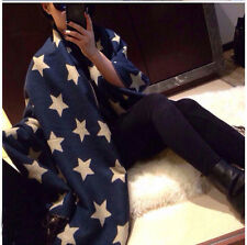 Fashion Ladies Star Scarf Navy Blue Stars Print Winter Fashion