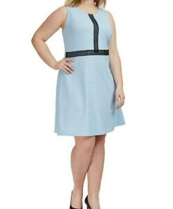 NY-Collection-Sleeveless-Knit-Lace-Trim-Blue-Fit-And-Flare-Dress-SIze-3X