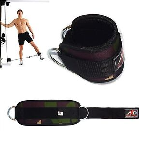 Gym-Exercise-Ankle-Strap-Weight-Lifting-Fitness-D-Ring-Cable-Attachment-Gren-Cam
