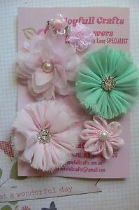HANDMADE-6-Flower-Pack-PINK-amp-MINT-Organza-Satin-25-70mm-NjoyfullCrafts-HT1